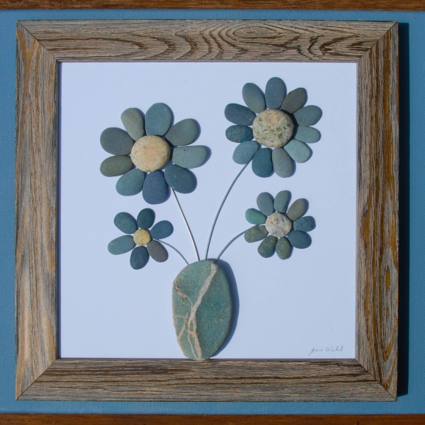 JPW beach art 4 stone flowers