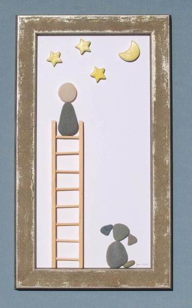 JPW beach art boy ladder with dog