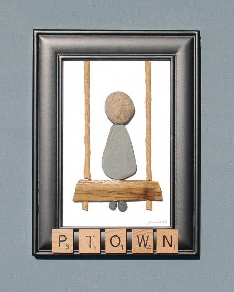 JPW beach art girl on swing Ptown