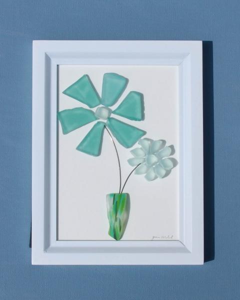 JPW beach art green glass flowers