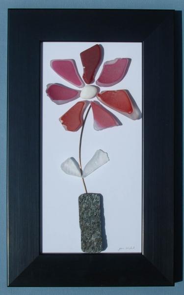JPW beach art red glass flower