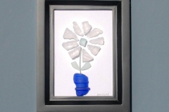 JPW beach art glass white flower blue vase
