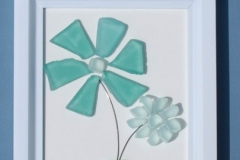 JPW beach art green glass flowers