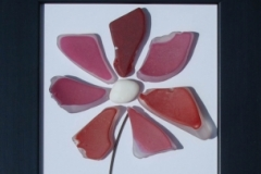JPW beach art red glass flower